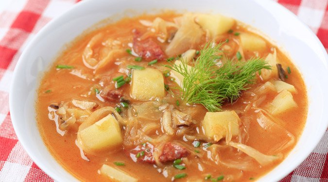 Kolbászos savanyú káposzta leves