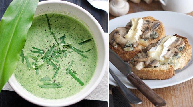 Medvehagyma leves erdei gombás kéksajtos toastkenyérrel