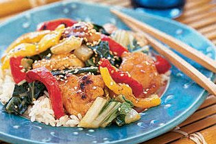 Narancsos szezámos csirke sült zöldségekkel