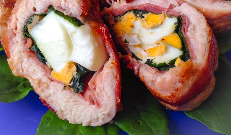Spenótos-sonkás-tojásos rolád pulykamellből