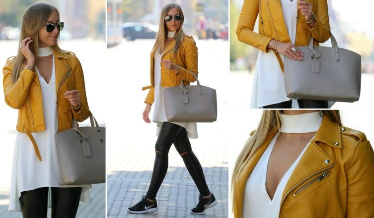 Őszi outfit tipp a hétköznapokra: vagány dzseki, sportcipő és nőies részletek