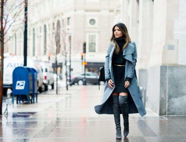 A legnőiesebb téli cipőnk – 7 trendi outfit térd fölé érő csizmával