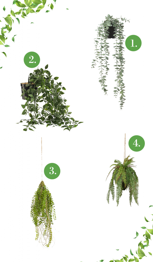 Élethű függő műnövények, művirágok otthonra