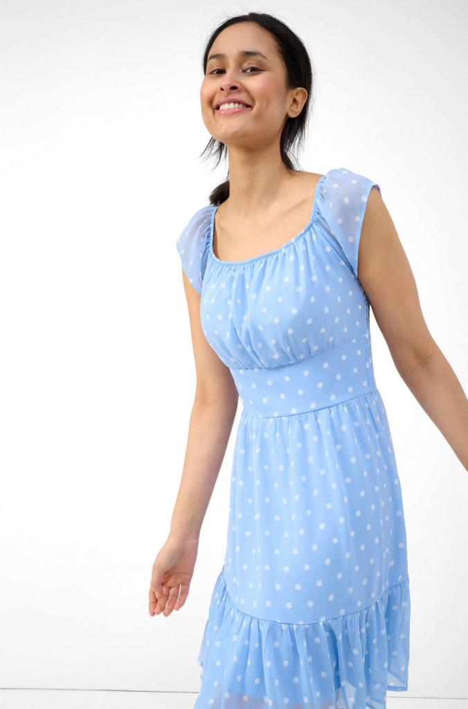 Kék fodros ruha