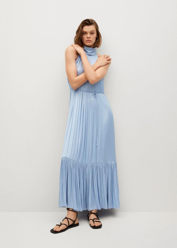Hosszú kék szaténruha