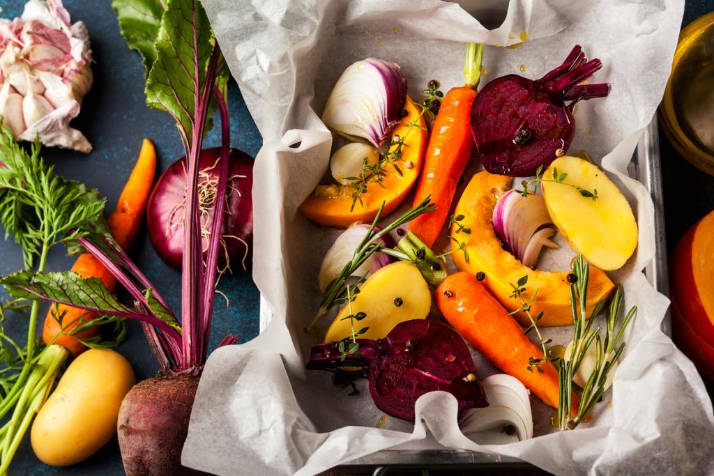 Organikus ételek, sült zöldségek